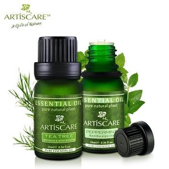 Artiscare de árbol de té de aceite esencial aceite esencial de menta cuidado facial tratamiento del acné cabeza negro limpio poros acné esterilizadas