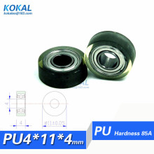 [PU0411-4]Free shipping 10PCS PU Polyurethane 684zz TPU PVC Rubber soft ball bearing roller 0411T 4*11*4mm(China)