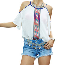 S-XXL  Off Shoulder Women Shirts Summer Pullover Blouse Female Printing Chiffon Shirt Tops Casual Women Blouse