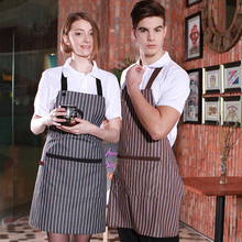Fashion Korean version of the apron men and women kitchen coffee shop couple stripes(China)