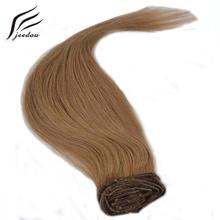 jeedou Straight Synthetic Clip In Hair Extensions 18inch 45cm 8Pcs 160g Real Natural Hair Brown Blond 12Colors Plump Hairpieces