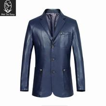 2017 new arrival hihg quality fashion casual Manufacturers selling men's coat leather suit thin leather plus size M-3XL LXW1501(China)