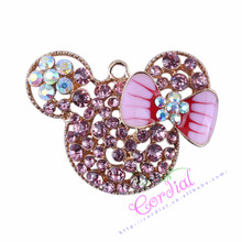 52*38MM 10pcs/lot Alloy Rhinestone Pendant Cute Good Pink Mouse Pendant For Character Jewelry Making Ebay Supplier CDRP-503963(China)
