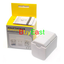 Free shipping World Global All In One Travle Adapter  US/EU/GB/AU/China/Japan Universal Power Plug Half cover ' White color
