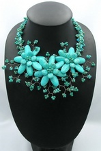 NEW beadwork necklace bib statement Beaded Jewelry turquoises choker flower With Turquoises