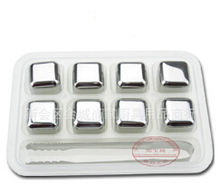 8Pcs/lot Whiskey Wine Stones 304 Stainless Steel Cooler Stone Whiskey Rock Ice Cube Soapstone Glacier Cooler