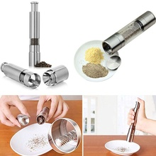 Fashion New Kitchen Gadgets Stainless Steel Thumb Push Salt Pepper Grinder Spice Sauce Mill Grind Stick Kitchen Cooking Tools(China)