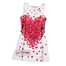 Fashion Baby Girl Dress Summer 2017 Red Hearts Pattern Dress Brand Children Clothing Infant Kids Party Dresses For Girl Frocks