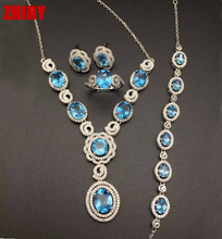 ZHHIRY Natural Blue Topaz Set Real Gem Stone Jewelry Solid 925 Sterling Silver Women Necklace Earrings Ring Bracelet
