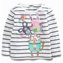 baby girls T-shirt striped cartoon graffiti new autumn cotton toddler kids tops children clothing long sleeve T-shirts