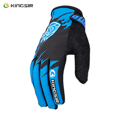 KINGSIR Cycling Gloves Winter Style Warm Breathable Gel Pads Velcro Anti-Slip Riser Vent Touch Screen Full Finger Bick Gloves(China)