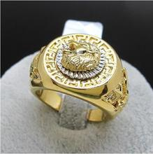 FREE SHIPPING Men s Band Ring19mm Ring Cool Lion Eagle Star Yellow  ^^@^ GP style Fine jewe Noble Natural Iab