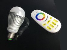 E27 RGB+W LED Color Changing Light Bulb RGBW 9W Bulb with 2.4G RF Wireless Remote Controll (Not IR), Pure White, Dimmable A19 La