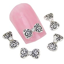 10Pcs/Lot Hot Sale Bow 3D Nail Art Antique Silver Plated Nail Charms Design All Gel Nail Tip Decorations Wholesale MA0044