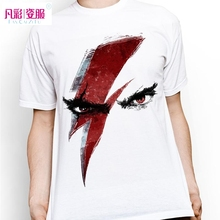 Novelty Hand Drawn Street Fighter Face Thunder Eye T Shirt White Short Sleeve Tshirt Cool Fashion Summer T-shirt Men(China)