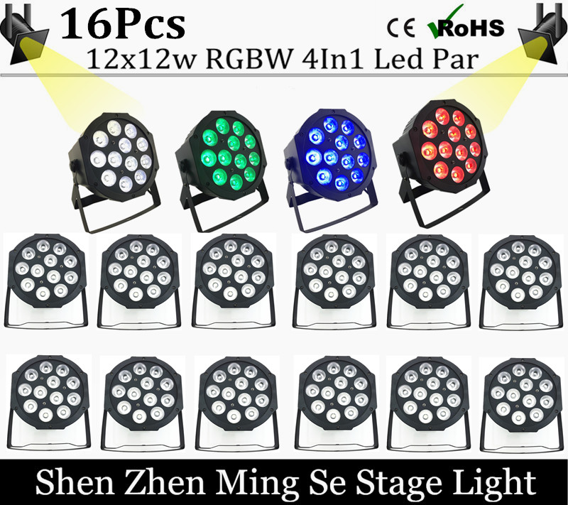 16pcs/lots  12x12w led  lamp beads  led Par lights RGBW 4in1 flat par led dmx512 disco lights professional stage dj equipment<br>