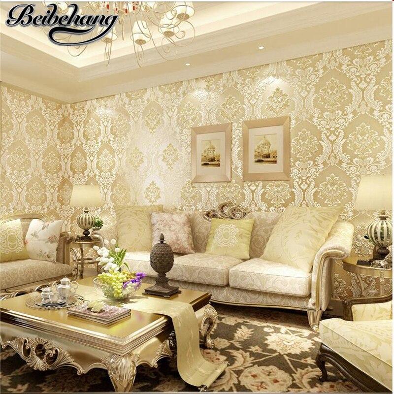 beibehang European style wallpaper non-woven wallpaper 3D luxury warm bedroom living room background wallpaper Damascus<br>