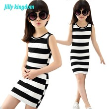 2017 Children Girls' Summer Dress Black & White Stripes Girls Cotton Dress Kids T-shirt Dress for Teen Girls Vest Dress Vestido(China)