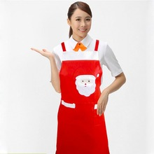 Christmas Santa Aprons Red Kitchen Shoulder Bib Sleeveless Christamas Housework Distribution Apron Home Dinner Party(China)