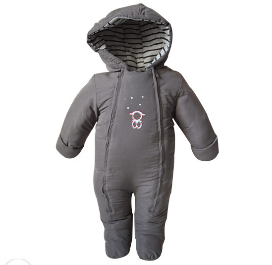 Original 2015 new baby boy girl romper bebe thicken warm hooded outerwear newborn infants winter cotton-padded clothing<br>