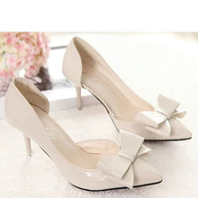 New Spring Summer Women Pumps Sweet Bowknot High-heeled Shoes Thin Pink High Heel Shoes Hollow Pointed Stiletto Elegant 3D01