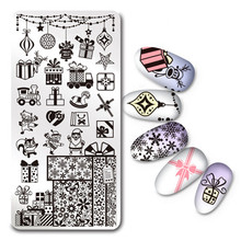 Rectangle Christmas Nail Art Stamping Template Stencils Snowflake Gift Manicure Nail Stamp Image Plate L030(China)
