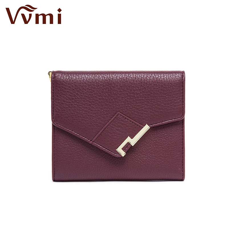 Vvmi New Europe Ms. wallet leather leather buckle short small wallet function<br>