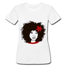 Naural Hair Afro with Flower Women's T-Shirt By American Apparel Funny Cotton Casual T Shirt  Cotton Short Sleeve Hip-Hop Top