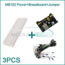 MB102 830 Point Solderless PCB Breadboard+65pcs Jump Cable Wires+Power Supply HO