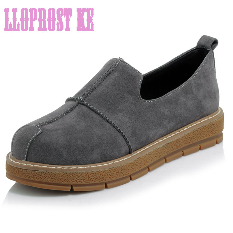 LLOPROST KE Fashion women shoes 2017 Shallow Casual flat Platform Slip-on Loafers Leisure Student shoes Plus size 30-45 dxj1938<br><br>Aliexpress