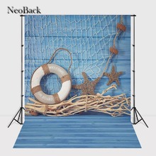 NeoBack 3x5ft Vinyl Cloth Wood Floor Photography Backgrounds Studio Summer Photo Props Photo Backdrops 90x150cm Blue decoration(China)