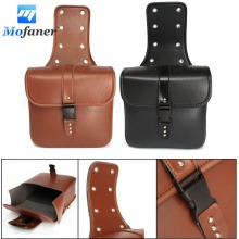 2 Pieces Universal Motorcycle PU Leather Saddlebags Storage Tool For Pouches Two Colors