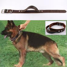 "Genuine Leather Heavy Duty Soft  Working Dog Collar for  Service K9 Pitbull Boxer  Mastiff 1.5"" width"