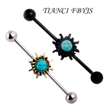 TICNCI FBYJS Sun Design Stainless Steel Earring Barbell Industrial Piercing Body Jewelry 14G Tragus Barbell Ear