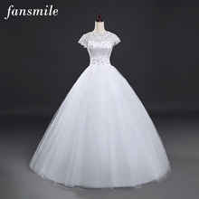 Fansmile Free Shipping Real Photo Vestidos Wedding Dresses 2017 Plus Size Vintage Wedding Ball Gowns Sleeve Under 100
