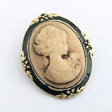 Free Shipping!Europe and the United States retro palace beauty head Brooch