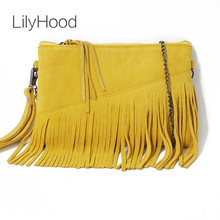 LilyHood 2017 Genuine Leather Shoulder Bag For Women Fashion Feminine Summer Small Suede Tassel Fringe Chain Yellow Hand Bag