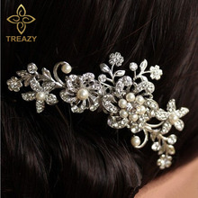 TREAZY Bridal Wedding Flower Butterfly Crystal Rhinestone Pearl Diamante Women Hair Clip Hair Comb Hair Accesories