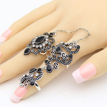 Promotion Turkish Double Finger Rings For Women Flower Ethnic Jewelry Multicolor Resin Vintage Pretty Exquisite Mid Ring Anillos