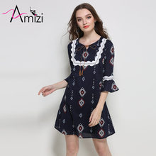 AMIZI Plus Size Women Clothing Chiffon Dress Spring New Arrive 2017 Printed Lotus Leaf Sleeves Dress Loose Summer Beach Dress