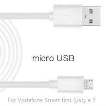 Micro USB Cable Fast Charging Mobile Phone USB For Vodafone Smart first 6/style 7 Android Charger Cable 1M Data Sync Cable White