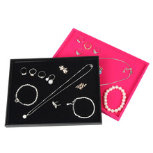 Jewelry Display Trays For Store Stackable Trays Black Velvet Insert Catch All Necklace Bracelet Earrings Ring Empty Tray Display(China)