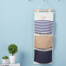 Practical Navy Striped Wall Hanging Storage Bag Vintage Jute Sundries Organizer Holder Closet Bag Backdoor Hanging Clothes Bag