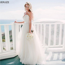 JIERUIZE White Simple Cheap Beach Wedding Dresses 2018 Sweetheaert Spaghetti Straps Summer Bridal Dresses robe de mariee