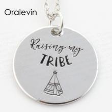 Wholesale RAISING MY TRIBE Engraved Disc Pendant Charms Necklace Lover Gift Jewelry 10Pcs/Lot,#LN249(China)