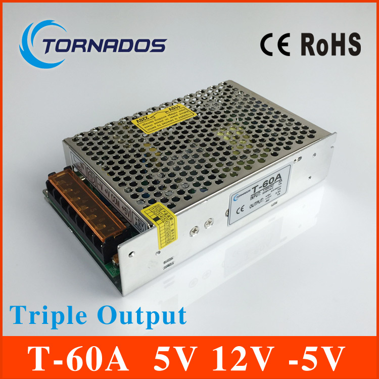 60W Triple Output switching power supply 5V 7A 12V 2A -5V 1A ac to dc power supply T-60A<br>