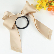 5pcs Women Satin Ribbon Bow Elastic Hair Band/Hair Tie Ring Rope Scrunchie Ponytail Holder Headbands Hair Accessories Hairbands(China)