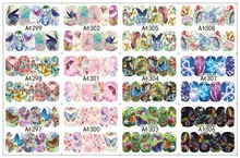 12 PACK/ LOT WATER DECAL NAIL ART NAIL STICKER SLIDER TATTOO FULL COVER COLORFUL BUTTERFLIES A1297-1308