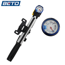 BETO Bicycle Pump Portable Mini Ultra-ligh Aluminum Alloy Pump High Pressure T-type Grip With Barometer 120PSI for AV/FV