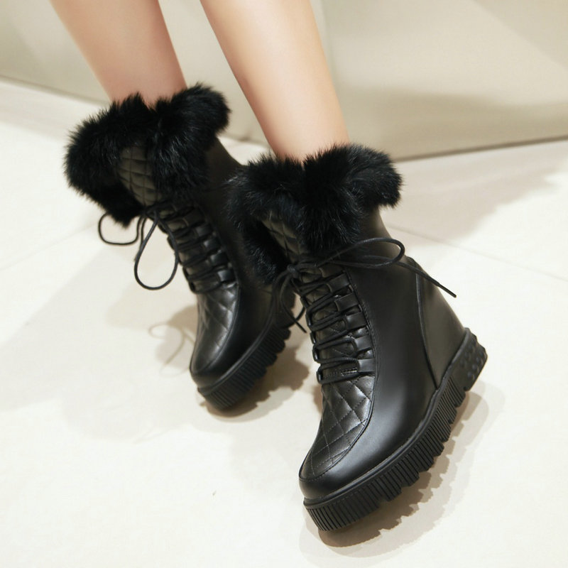 Faux Fur Lace-up Ankle Boots Woman Fashion Comfy Wedge Heel Flat Boots Large Size 34-43<br><br>Aliexpress